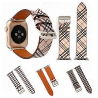 bandas de relógios de couro genuíno venda por atacado-Clássico Plaid Couro Genuíno Pulseira de Relógio Bandas Para A Apple Assista Banda 38mm 42mm Designer De Substituição Pulseira Pulseira Fecho Fivela
