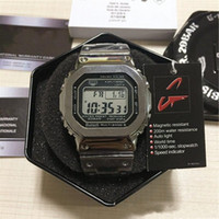 Wholesale wrist watch display boxes for sale - Group buy With Box G Style Luxury Men Wrist Watches TOP Quantity LED Display Sport Student Watch Shock waterproof Square Dial Gold Strap Watches
