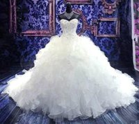 Wholesale plus size wedding dresses beaded tops resale online - 2020 Cheap Real Images Top Beaded Embroidery Princess Wedding Dresses Sweetheart Corset Organza Cathedral Church Ball Gown Wedding Dresses