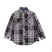camisa morna grossa dos homens venda por atacado-Homens Inverno Plaid Shirts Grosso Coats Fashion Trend masculinos Coats lapela pescoço 4 cores do inverno casacos quentes