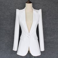 jaquetas para mulheres venda por atacado-QUALIDADE SUPERIOR 2018 Novo Designer Elegante Blazer das Mulheres Ombros Encolher Ombro Único Botão Blazer Branco Jaqueta