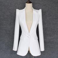 jacken knöpfe für frauen großhandel-TOP QUALITY 2018 Neue stilvolle Designer Blazer Damen Achselzucken Schulter Single Button White Blazer Jacke