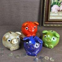 banka para kasası toptan satış-Yeni yaratıcı hediye ev mobilya seramik el sanatları zengin küçük kırmızı bebek domuz para kazanmak kumbara süsler Zodyak doğum günü hediye tasarrufu-kutuları