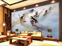 Wholesale oil wood art resale online - 3d room wallpaper custom photo mural Oil painting seven fairy Chinese background wall home decor wall art pictures wallpaper for walls d