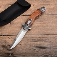 Wholesale wood handle folding knives resale online - High Quality Lion Auto Tactical Folding Knife Cr13 Satin Blade Wood Handle Outdoor EDC Pocket Knives With Nylon Sheath