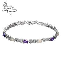 piedras moradas gemas al por mayor-2016 Trendy Fire Opal Gem Purple Stone Silver Charm Bracelet Para Mujeres Elegante Joyería Fina El mejor regalo para los amantes de la boda Sl082. Y19062901
