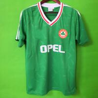 camisa de futebol venda por atacado-Top Tailândia 1990 1992 Irlanda RETRO Camisolas de Futebol República da Irlanda Selecção Nacional Jersey 90 Taça do mundo Futebol kit futebol Camisa verde