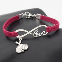 cruz pulseira vermelha venda por atacado-2019 venda quente rosa pulseira de couro vermelho para mulheres homens charme pingente amor infinito double cross bola de raquete de tênis amante do esporte casal jóias