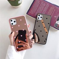 Wholesale iphone back up online – custom Luxury Make Up Mirror Small Love Heart Phone Case For iPhone Pro Max XS MAX XR X Case Back Cover Fundas