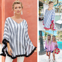 Wholesale maternity shawls resale online - Women Striped V Neck Cloak Tops tassel shawl Casual Tees Maternity Women Summer Clothes T shirts Tops cape LJJA2889