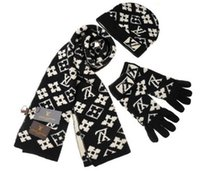 Wholesale hats gloves sets resale online - Hot Sale New Fashion Winter And Autumn Warm Hat High Quality Cap Men Women Scarf Hats Knitted Hats Scarves Gloves Sets g366