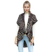 trajes de punto cardigan al por mayor-2019 Otoño Otoño Cardigan Jacquard Mujeres Abrigos Cape Long Sleveeless Plus Size Knit Outfits Jacket Cheap W-035