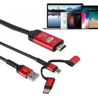 av numérique hdmi achat en gros de-Câble USB HDMI 3 en 1 Plug and Play pour Android Micro USB Type C à HDMI Adaptateur AV numérique HDTV
