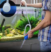 pompe à eau propre achat en gros de-Réservoir de poissons en gros Aquarium Vide Gravier Nettoyant Eau Changement Siphon Pompe Siphon Filtre