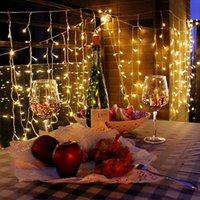 cortinas iluminadas bodas al por mayor-16M * 0.8M 512 LED luces de la secuencia del carámbano cortina de la ventana Hada 8 modos de 24V a prueba de agua centelleo enciende Patio de Navidad bodas del jardín decorativo