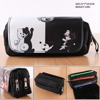 Wholesale anime stationery resale online - Anime Danganronpa Monokuma Cosmetic Cases Student Stationery Pencil Case Makeup Bag With Double zipper