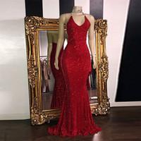 görüntü parıltısı toptan satış-Gerçek Görüntü Kırmızı Muhteşem Glitter Sequins Gelinlik Modelleri 2019 Mermaid Halter V Boyun Seksi Abiye giyim Sweep Tren Uzun Parti Elbise Yüksek kalite