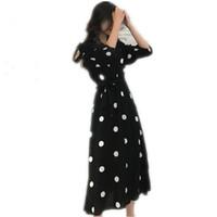 yazlık elbiseler kore bayanlar toptan satış-Superaen Yaz Kadın Elbise Kore Tarzı Moda V-Boyun Bayanlar Uzun Elbise Rahat Yarım Kollu Nokta Elbise Kadın Yeni