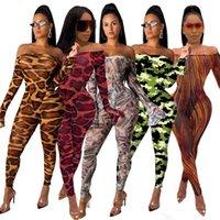 vestidos da menina da cópia do leopardo venda por atacado-Manga comprida Sexy Perspectiva da cópia do leopardo manga comprida Jumpsuit Mulheres Meninas Casual Vestido lar Roupa DHL WX9-1701