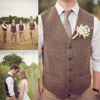 Wholesale natural linen suit for sale - Hot Sell Country Farm Wedding Brown Wool Herringbone Tweed Vests Custom Made Groom Vest Slim Fit Mens Suit Vest Prom Wedding Waistcoat