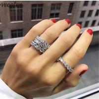 diamante redondo de 6mm venda por atacado-Vecalon Moda Promise anel Redondo corte 4mm / 6mm Diamante Cz 925 Sterling Silver Engagement anéis da faixa de casamento para as mulheres homens jóias