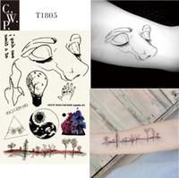 face das madeiras venda por atacado-T1805 1 Peça Linha Natureza Tatuagem Temporária com Rosto de Linha, Madeiras, Yin e Yang Dia Noite, e Padrão de Aplausos pintura corporal Tatuagens