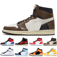 Wholesale cow leather home for sale - Group buy 1 High OG Travis Scotts Basketball shoes Spiderman UNC s top Mens Homage To Home Royal Blue Mens Women Sport Designer Sneakers Trainers