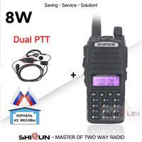 telsiz 8w toptan satış-Walkie Talkie UV-82 Yükseltme 8W UV 82 Çift PTT Kulaklık Mikrofon Walkie Talkie 10 KM Baofeng 8W Radyolar
