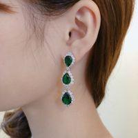 kadınlar için en iyi küpeler toptan satış-En iyi En Iyi yeni kadın sihir moda vahşi elmas dolu klasik yüksek dereceli yeşil zirkon küpe tarzı tanrıça serisi