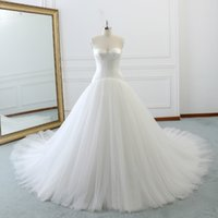 Wholesale strapless fitted backless wedding dresses for sale - Princess Strapless Backless Lace Up Vestidos De Boda Fairy Tulle Pleats Slim Fit A line Long Wedding Dresses Robe De Marriage