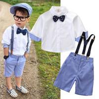 erkek parti gömleği toptan satış-Bebek Giysileri Set Yürüyor Çocuk Bebek Erkek Kıyafet Elbise Gömlek + Şort Pantolon Beyefendi Parti Suit Çocuk Üst Gömlek