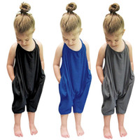 Wholesale jumpsuit babies for sale - Group buy Baby Girls Strap Romper INS Solid color Sling sleeveless Jumpsuits Summer fashion Boutique Kids Climbing clothes C6224