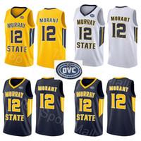 gelbe blaue basketball uniformen großhandel-NCAA Murray State Racers 12 Temetrius Jamel Ja Morant Trikots College Basketballuniform Universität Gelb Blau Weiß OVC Ohio Valley