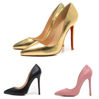 ingrosso pompe lucide-Fashion Designer Shoes 12cm Women Glossy Pink Brown Tacchi alti in pelle di marca Bottomeded Toe Marca Red Pumps Scarpe eleganti di lusso