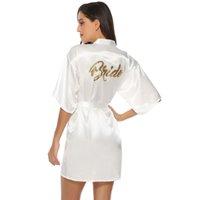 hochzeitsfeier satin roben großhandel-2019 Herbst Bridal Party Robe Brief Braut auf der Robe zurück Frauen Lady Short Satin Hochzeit Kimono Nachtwäsche Spa Roben
