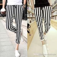 ingrosso strisce di zebra sottile-Ingrosso-Uomo Pantaloni casual da uomo in bianco e nero Leggings zebrato Stampa pantaloni a righe verticali PANTALONI SLIM FIT
