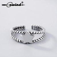 anéis duplos do punho venda por atacado-Cxwind Vintage Star Cuff Anéis Abertos para As Mulheres 925 Thai Torção Dupla Linha de Casal Anel Ajustável Dedo Jóias Presente Do Partido