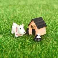 ingrosso ornamenti da giardino cane-miniatura 3 pz / set carino resina mondo ornamenti del mondo accessorio resina figurine mestiere miniature per la decorazione del giardino di casa