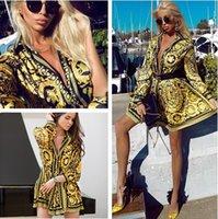 ligne de taille empire col haut achat en gros de-Navire Libre 2019 Nouveau Style Femmes De Mode Impression Col Revers A-ligne Robes Casual Taille Haute Mini Robe Vestidos
