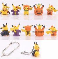 ücretsiz cosplay oyuncaklar toptan satış-Rakamlar Oyuncaklar Cadılar Bayramı Pikachu Cosplay Rakamlar Doll 5 Models / Lot Her Figrue Anahtarlık DHL Ücretsiz Nakliye Ile Gel