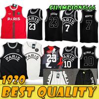 Wholesale 2019 PSG Paris Jersey Michael JD MBAPPE Paris Basketball Jerseys PSG X AJ Basketball Jersey Jordam Paris Germa