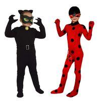 yılbaşı kedisi kıyafetleri toptan satış-Çocuklar Cosplay Kostüm Noel Masquerade Cadılar Bayramı Bebek Kız Romper Karikatür Sıkı Tulumlar siyah Kedi Giyim GGA2170