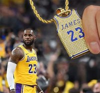 Wholesale james jewelry resale online - Luxury Designer Jewelry James King NO23 Los Angeles Jersey Pendant Necklace Iced Out Cubic Zircon Mens Hip Hop Jewelry Gift