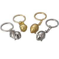 Wholesale golden key chain resale online - Originality Keys Buckle Little Golden Pig Keys Chain Lovers Pig Automobile Pendants Fashion Keys Button Exquisite xs k1