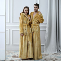 2019 Thermal Hooded Flannel Bathrobe Women Men Extra Long Thick Warm Winter Bath Robe Bridesmaid Robes Dressing Gown T200111