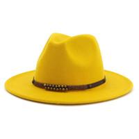 ingrosso cappelli delle donne britanniche-13 Colori High-Q Wide Lana in feltro di feltro Jazz Fedora Cappelli per uomo Donna British Classic Trilby Party Formal Panama Cap Floppy Hat