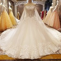 Wholesale wedding dress beading patterns resale online - 2019 Bohemian Long Shawl Wedding Dresses Lace Up Back Shining Crystal D Floral Applique Pearl Beach Luxury Pattern Strapless Wedding Gowns