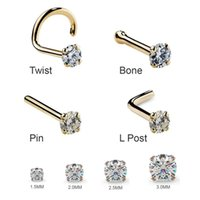 Wholesale stud 2mm for sale - Group buy 1Pc mm mm G Zircon Nose Stud Steptum Nose Studs Hooks Bar Pin Nose Rings Body Piercing Stainless Steel Jewellery