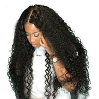 uzun kıvırcık insan saçı perukları toptan satış-Uzun Siyah Peruk Derin Kıvırcık Dantel Ön İnsan Saç Peruk Siyah Kadınlar Için Brezilyalı Remy Saç Curl Peruk 2M81114