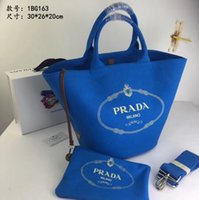 Wholesale new large capacity solid color handbag resale online - Designer bag Solid color letter printing new canvas fabric large capacity holiday essential casual fashion handbag size
